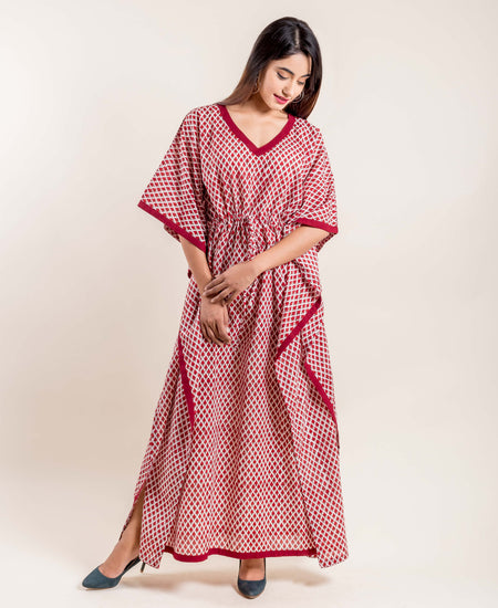 Red Hand Block Printed V-Necked Kaftan