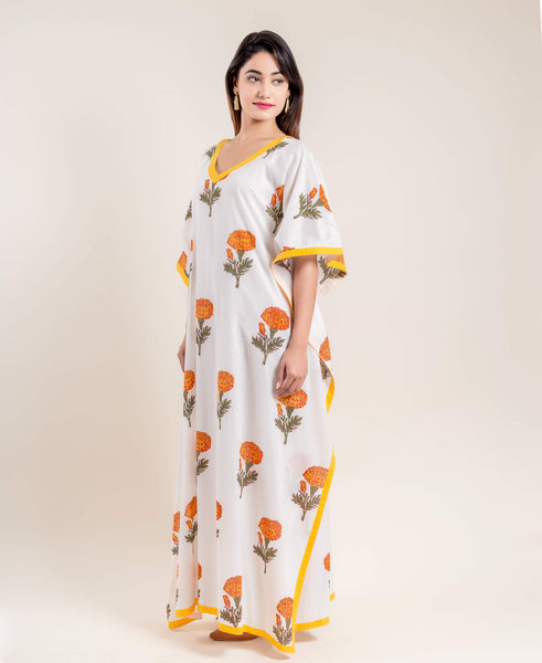 Yellow White Hand Block Printed V Neck Kaftan