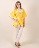 Cotton Yellow Printed Kaftan Top With White Trouser