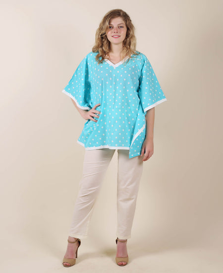 White And Blue Kaftan Dress With Adjustable Waist Line