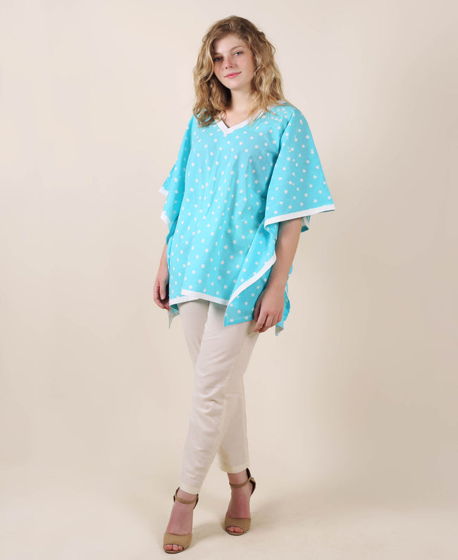Cotton Aqua Printed Kaftan Top With Trouser