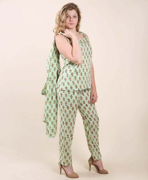 Lime Green Hand Block Printed Rayon 3 Pieces Sleepwear