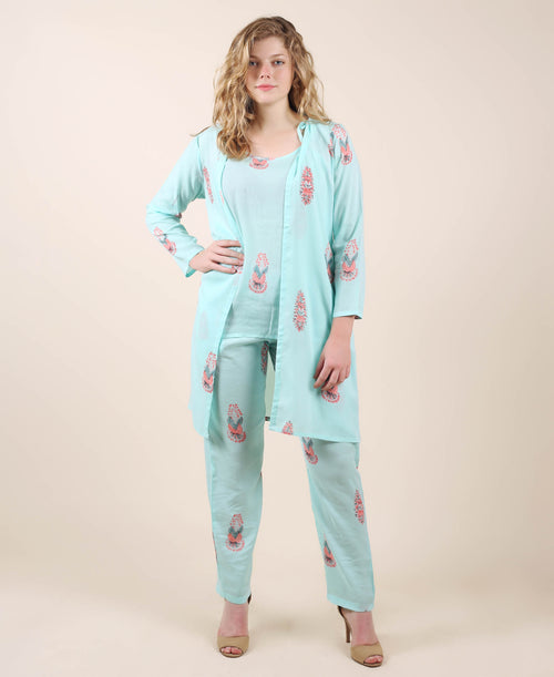 Aqua Peach Printed Cotton 3 Pieces Nightwear
