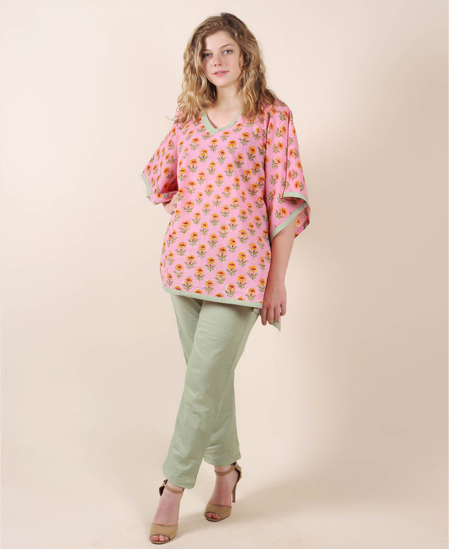 Pink Cotton Kaftan Top With Sage Green Trouser
