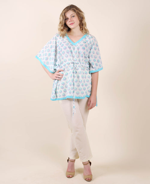 Cotton Aqua And White Kaftan Top With Trouser