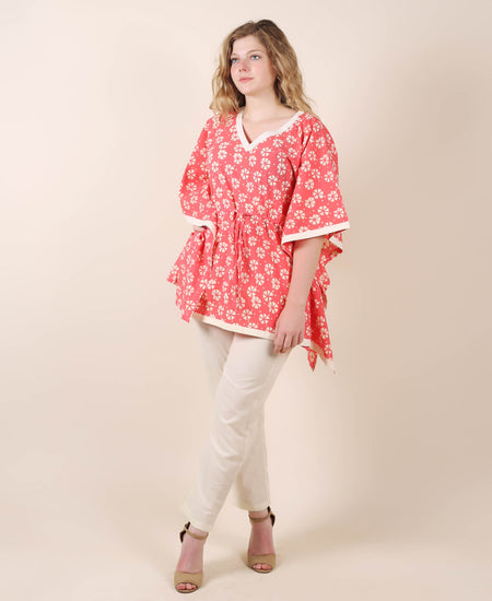 Cotton Off-White Printed Kaftan Top And Red Trouser