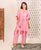2 Piece Pink Polka Dot Printed Kaftan Set
