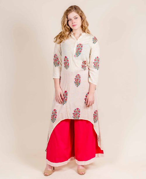 Off- White and Pink Hand Block Printed High Low Kurta Dress with Palazzo