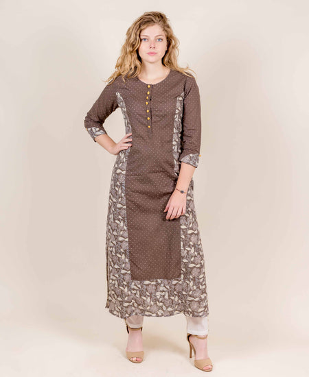 Sea Green Hand Block Printed  Cape Kurta