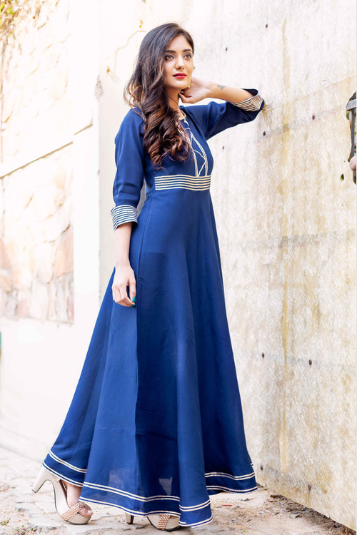 Perfect Fit Indigo Blue Long Gota Dresses Online