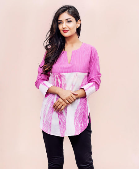 Pink Tie And Dye Front Shell Buttoned Short Kurta Top