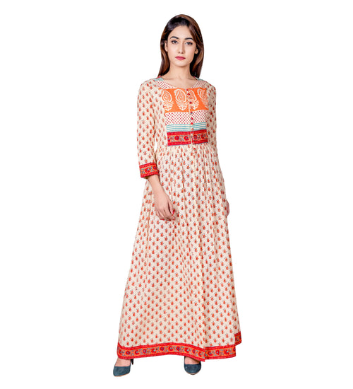 Beige and Orange Hand Block Printed Cape Kurta with Pants