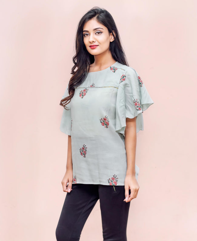Rayon Bell Sleeves Hand Block Printed Tops for jeans and pants online