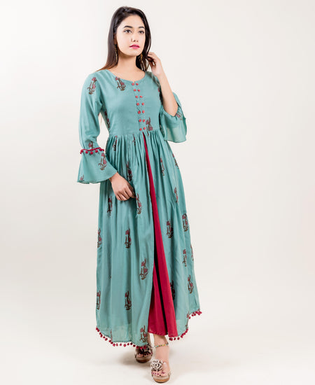 Mint Green Golden Hand Block Printed Kurta Set