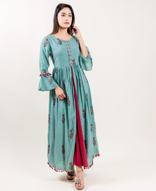 Rayon Double Layered Front Slit Indo Western Long Dress