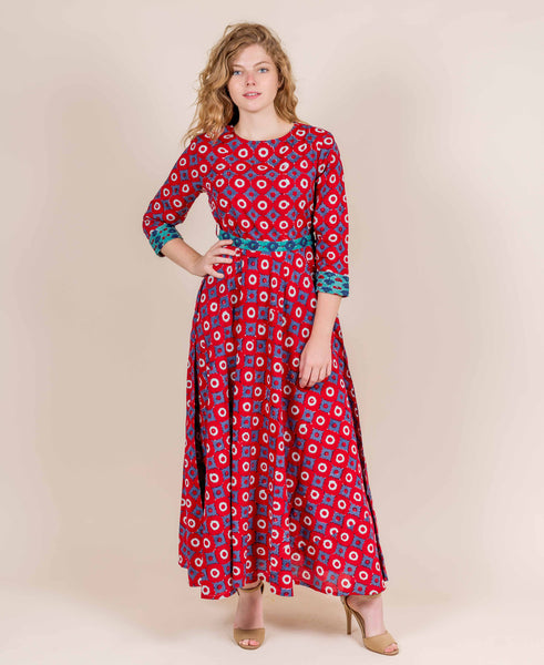 Red  Blue  Aqua Hand Block Print Indo Western Dress