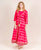 Red Double Layered Jacket Style Tie and Dye Dresses for women online
