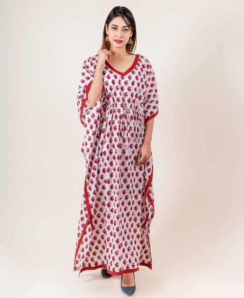 White And Red Hand Block Printed Kaftan Dress