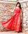 Red Hand Block Printed Sleeveless Anarkali Dress