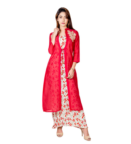 Red and Blue Hand Block Printed Palazzo Set with Chanderi Jacket