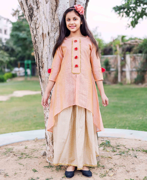 Round Neck Golden Printed Asymmetrical Kurta with Gold Printed Skirt