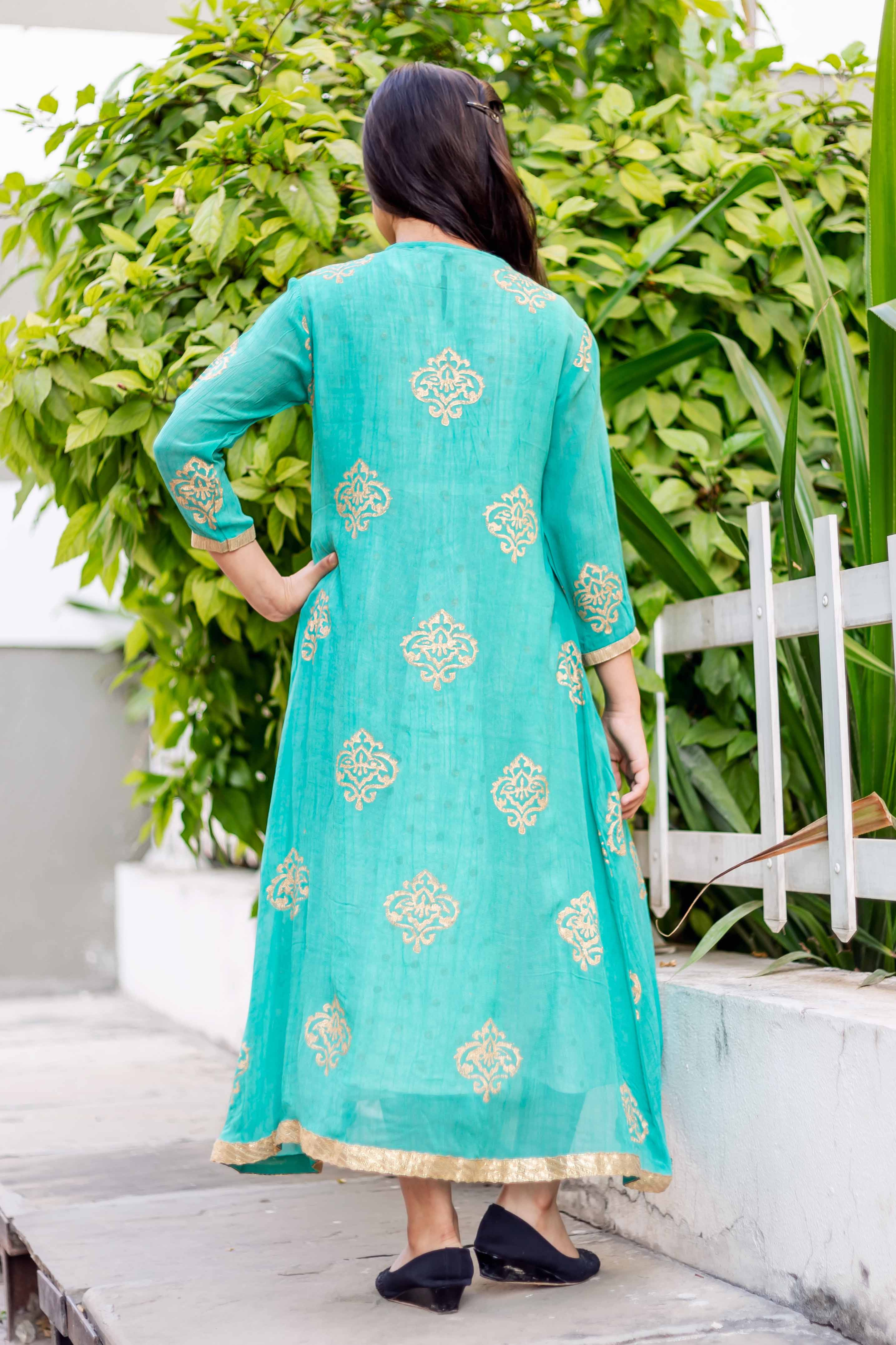 Round Neck Hand Block Printed Dress for Girl Shopping India