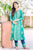 Round Neck Teal Blue Hand Block Printed Kurti with Pants for Ladies Online