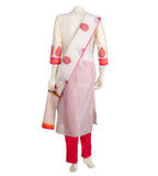 White  and Pink Hand Block Printed Kurta with Pants
