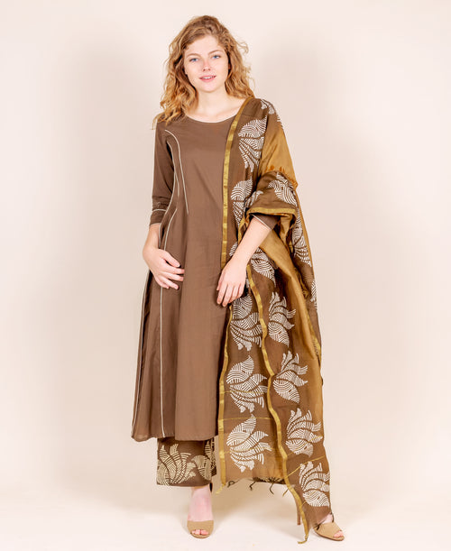 Brown and Beige Suit Set with Printed Chanderi Dupatta