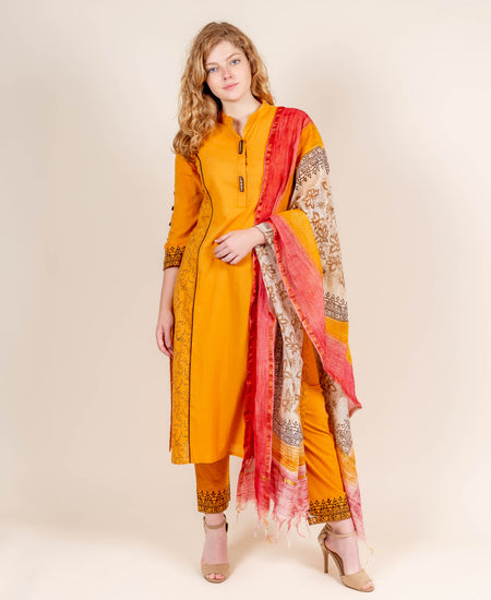 Yellow and Pink Hand Block Printed Embroidered Indo Western Dress with Chanderi Jacket