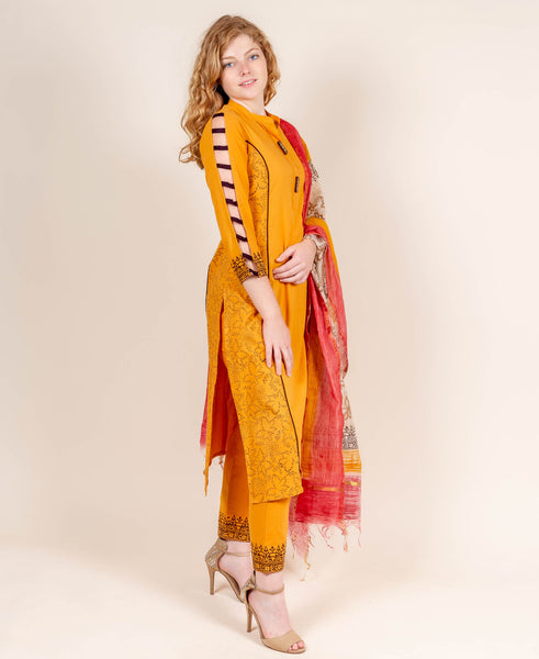 Mustard and Brown Suit Set with Dupatta