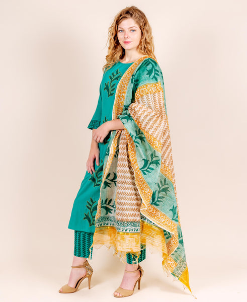 Teal and Yellow Embroidered Suit Set with Dupatta