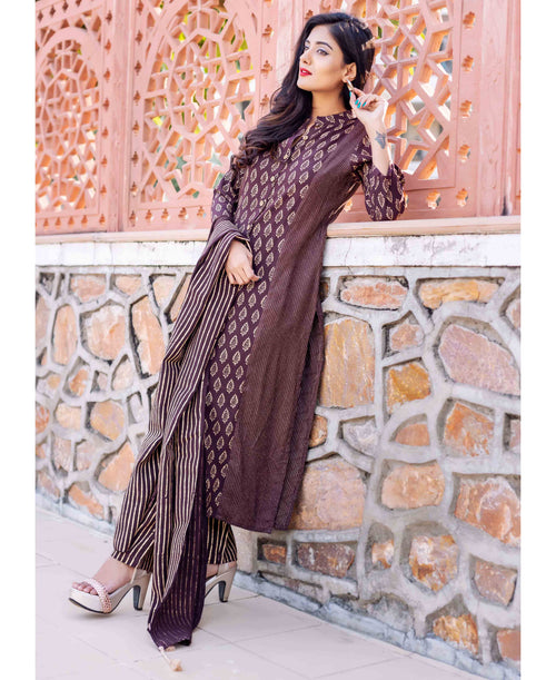 Brown Kantha Kurta with Golden Print and Cotton Dupatta