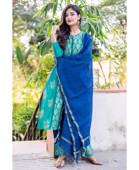 Blue and White Printed Angrakha with Straight Palazzo
