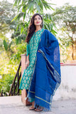 Teal and Indigo Hand Block Printed Indo Western Suit Set with Chanderi Dupatta for women