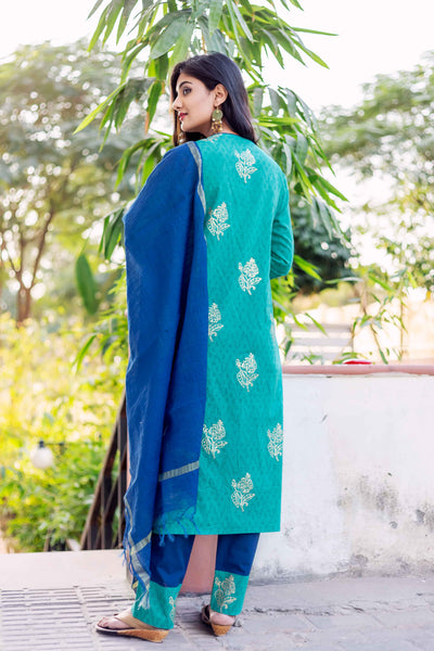 3 piece cotton Printed Suit with Dupatta for women online shopping