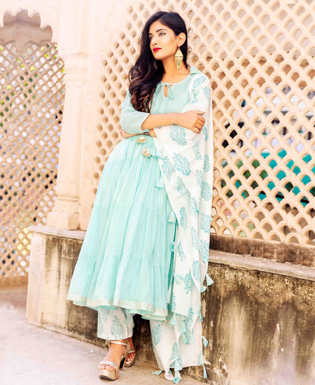 Mint Green and Golden Hand Block Printed Tiered Style Suit Set with Dupatta