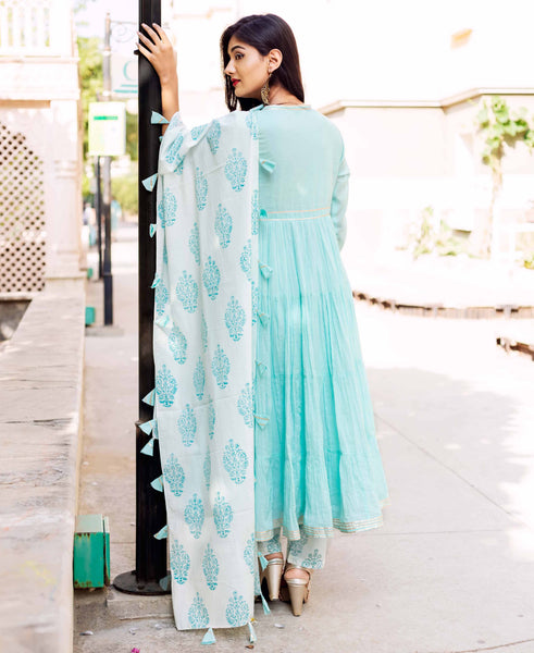 Blue Tier Cotton Kurta Dress with Block Printed Dupatta
