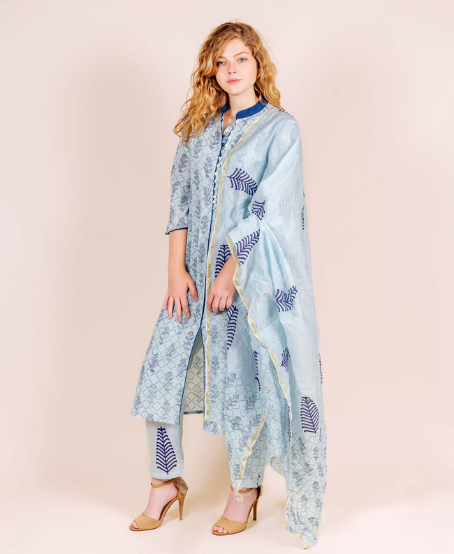 Blue Straight Cut Block Printed Kurta Set with Chanderi Dupatta