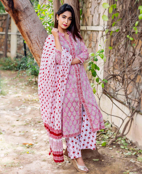 A-Line Hand Block Printed Kurta Set with Cotton Dupatta