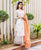 White Straight Kurta Skirt Set with Orange Chanderi Skirt