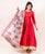 Red Flared Long Dress with Block Printed Dupatta
