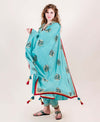 Blue Flared Suit Set with Block Printed Dupatta