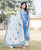 Sky Blue & White 3 Piece Solid Straight Kurta Set with Dupatta