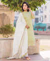 Light Green and White Suit Set with Crinkled Dupatta