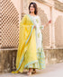 White and Green Hand Block Printed Kurta Set with Chanderi Dupatta