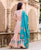 Peach Polka Printed and Embroidered Sharara Set with Turquoise Dupatta