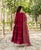 Maroon Tiered Hand Embroidered Dress with Dupatta