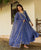 Steel Blue Hand Embroidered Chanderi Dress with Organza Dupatta