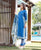 Blue Chanderi Hand Block Printed Suit Set